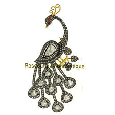 VICTORIAN 5.80ct ANTIQUE ROSE CUT POLKI DIAMOND SILVER RUBY PEACOCK STYLE BROOCH