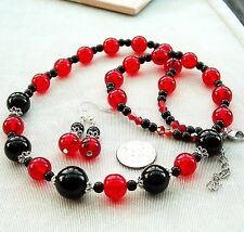 "Red Glass Beads Genuine Black Onyx Necklace 21 to 23"" Pierced Earrings FREE SHIP"