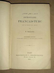Dictionnaire francais-turc - N. Mallouf -  Maisonneuve, 1881 - Paris