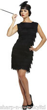 Ladies Black 1920s 20S Flapper Gatsby Fancy Dress Costume Outfit STD & Plus Size