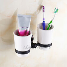 Bathroom Oil Rubbed Bronze Black Two Ceramic Cup Toothbrush Holder Tumbler Set