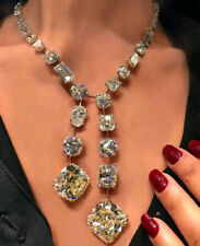 Solid 925 Sterling Silver Beautiful Big Stone Cocktail Party Necklace Jewelry Cz