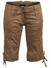 New Women ladies gorgeous zip pocket camel cargo shorts size 12
