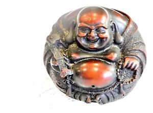 BEAUTIFUL ORIENTAL  VINTAGE HAND CARVED BOXWOOD LAUGHING BUDDHA SCULPTURE C 1950