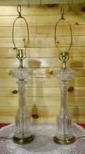 Vintage French Crystal Glass Lamps Matching Pair Taille Main Cristal d'Albret