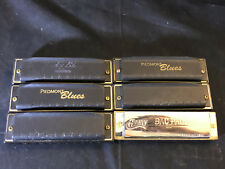 """Lot Of 6 Huang Bac Pac Harp """"B"""" And Piedmont """"A"""",""""F"""", """"G"""", """"G"""", """"G""""  Harmonicas"""