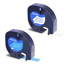 2 Label For Dymo Letratag 91331 91335 Blue White Refills Plastic Tape 12mm4m