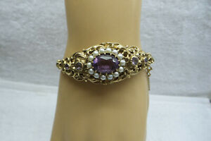 Victorian Style 10kt Genuine Amethyst and Seed Pearl Bangle Bracelet..22.6 Grams
