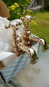 FREE P&P Vintage BRISTAN TRINITY GOLD Plated BATH Taps NEVER USED still boxed