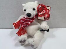 COCA-COLA Polar Bear in Red CC Snowflake Scarf Bean Bag Plush Exclusive #0159