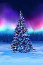 Borealis All Aglow Christmas Tree Digital Print Cotton Quilting Fabric Panel