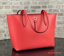 Kate Spade Adel Small Tote Shoulder Bag Orange Stoplight Leather Laptop Satchel