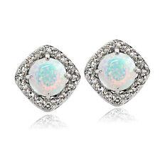 925 Silver Lab Created Opal with White Topaz Diamond Shape Stud Earrings