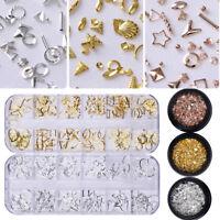 Nail Studs Rivet Rose Gold Silver Hollow Chain Sea Theme 3D Nail Art Decoration