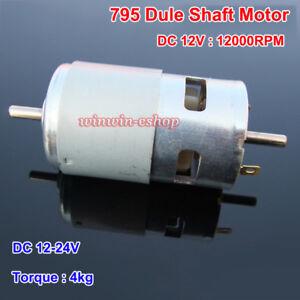 RS-795 Dual Shaft Motor DC 12V-24V 12000RPM  High Speed Large Torque Power Motor