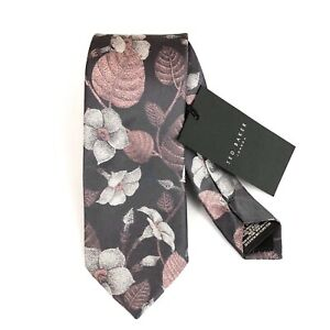 Ted Baker London Floral Jacquard 100% Mulberry Silk Tie Purple NEW
