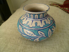 vintage hand made painted Persian  turquoise blue pottery ceramic vase old
