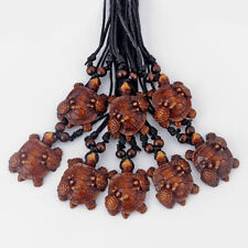 12pcs Imitation Yak Bone Brown Sea Turtle Mother & Child Pendant Necklace