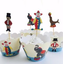12x Circus Carnival Cupcake Topper + Wrapper. Party Supplies Lolly Loot Bag Cake