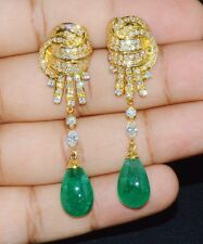 CERTIFIED NATURAL 23CTS VS F DIAMOND EMERALD 18K GOLD DANGLE CHANDELIER EARRINGS