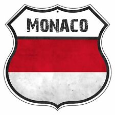 MONACO Country Vintage Flag Novelty Highway Shield Metal Sign