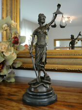 Bronze Marmor Justitia Statue Göttin Antik Justizia Justicia Edel Figur Skulptur
