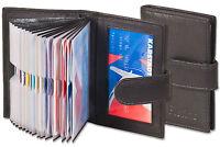 Platino Étui Porte Cartes de Crédit en Noir avec Renforcé Compartiments Fin Cuir