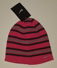 Nike Air  Girls Pink Strip Hat Beanie Size 7-16