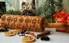 Christmas Carved Embossed Dough Rolling Engraved Rolling Pin Roller Cookie