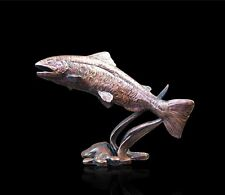 Small Salmon Solid Bronze Foundry Cast Sculpture by Michael Simpson [803]