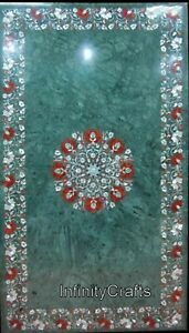 Green Marble Center Table with Semi Precious Stone Dining Table Top 24 x 42 Inch
