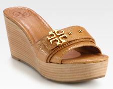 NEW TORY BURCH Elina Mid-Wedge Gold Logo/Tan Leather Platform Slide Sandal US 11