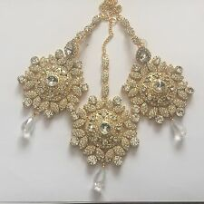 GOLD CLEAR INDIAN COSTUME JEWELLERY EARRINGS HEAD CHAIN DIAMOND SET BRIDAL NEW