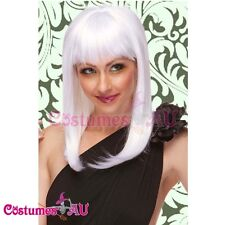 Ladies White Straight Deluxe Wig Wigs costume Fancy Dress Costume Accessories