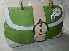 NEW Coach Daisy Soho Green Canvas Vachetta Leather Top Handle Tote Bag Purse WOW