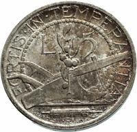 1937 SAN MARINO Italy Plow & Plants Antique Silver Genuine 5 Lire Coin i75927