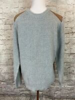 J.Crew Men's Sweater Pullover Gray Texture Brown Suede Shoulder Patches Sz L T