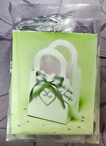 Thankyou Silver Heart on White Party Favor Bags w/ Satin Ribbon & Tags to Print