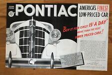 1937 PONTIAC SILVER STREAK  Black & White Print AD  Very cool 2 page Ad awesome!