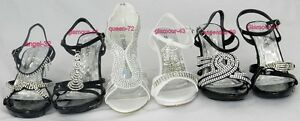 Women's Glamours Strapy Prom Wedding Rhinestones Heel Dress Sandal Shoes Sz 5-10