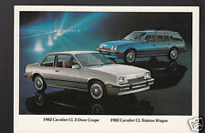 1982 CHEVROLET CAVALIER CL 2-DOOR COUPE & STATION WAGON Car Photo POSTCARD