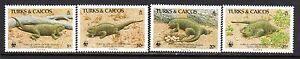 1986 Turks & Caicos 710-713 | 777-780 | 888-891 MNH Set of 4 WWF Ground Iguanas