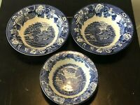 Set of 3 Vintage Woods & Sons Enoch Woods English Scenery Blue Bowls