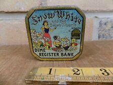 Walt Disney Snow white Tin Toy dime Money Bank c1938