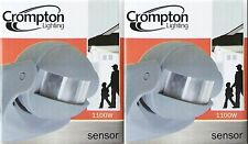 2 x Crompton PIR Motion Sensors - for Outdoor Security Lights GREY 1100W 3 Wire