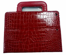 IPAD AIR RETINA LEATHER CROCODILE CASE COVER STAND SMART DARK RED WITH HANDLES