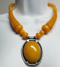 Tibetan Tribal Resin Beaded Gypsy Ethnic Fashion Necklace 17'' Amber >New<