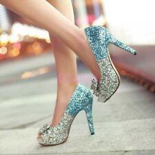 Womens Peep Toe High Heel Bling Party Wedding Bridal Sandal Shoes Blue US 10.5