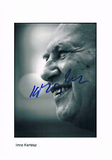 "Imre Kertész 1929-2016 genuine autograph 7.5""x10.5"" photo signed In Person NOBEL"