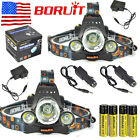 2pcs Boruit 13000Lm 3xXM-L T6 LED Headlamp HeadLight +18650 Battery+Charger Sets